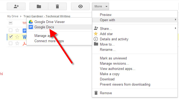 Google Docs in Open With submenu